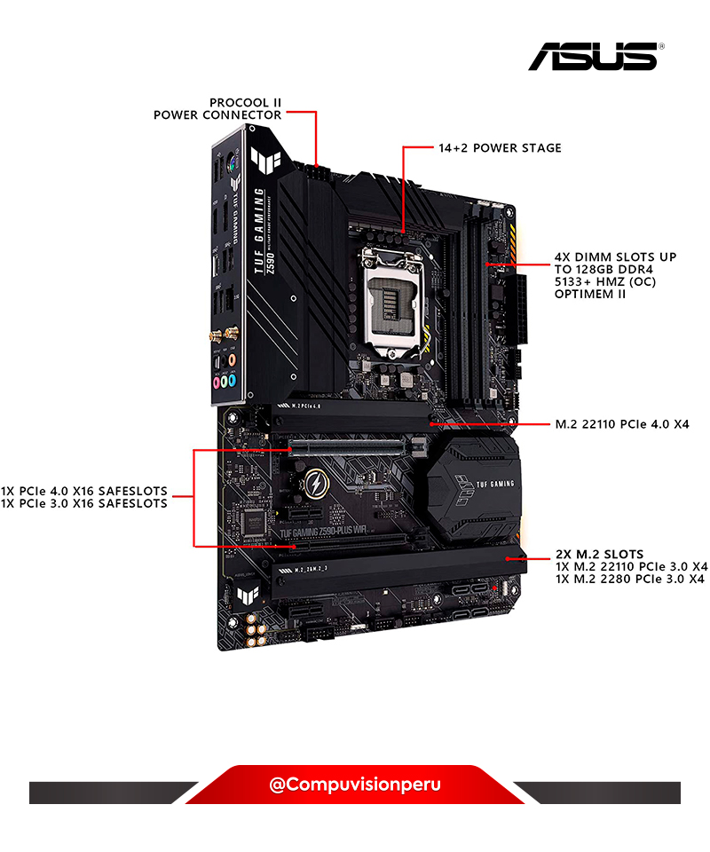 PLACA ASUS TUF GAMING Z590-PLUS WIFI 6  LGA 1200 INTEL 10TH GEN PCIE 4.0 M.2 SSD  USB 3.2